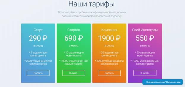 продвижение в инстаграм. тарифы
