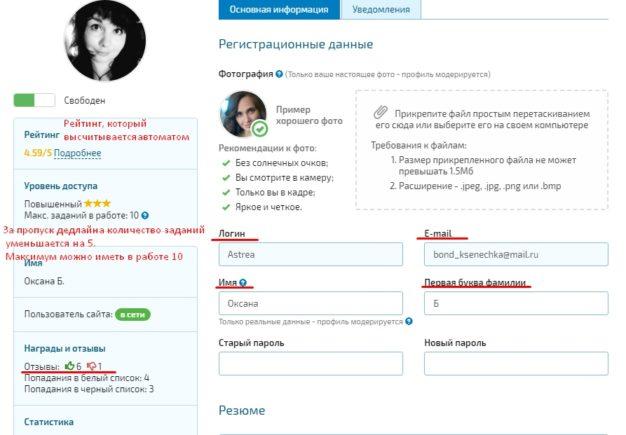 профиль копирайтера на Копилансер