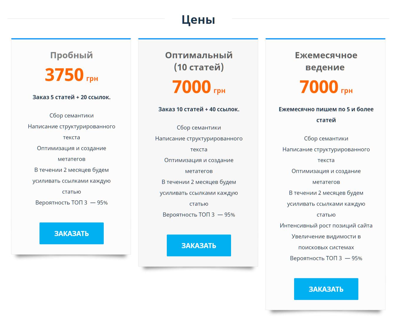 Средняя стоимость услуг