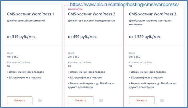 Домен и хостинг при заказе на Nic.ru