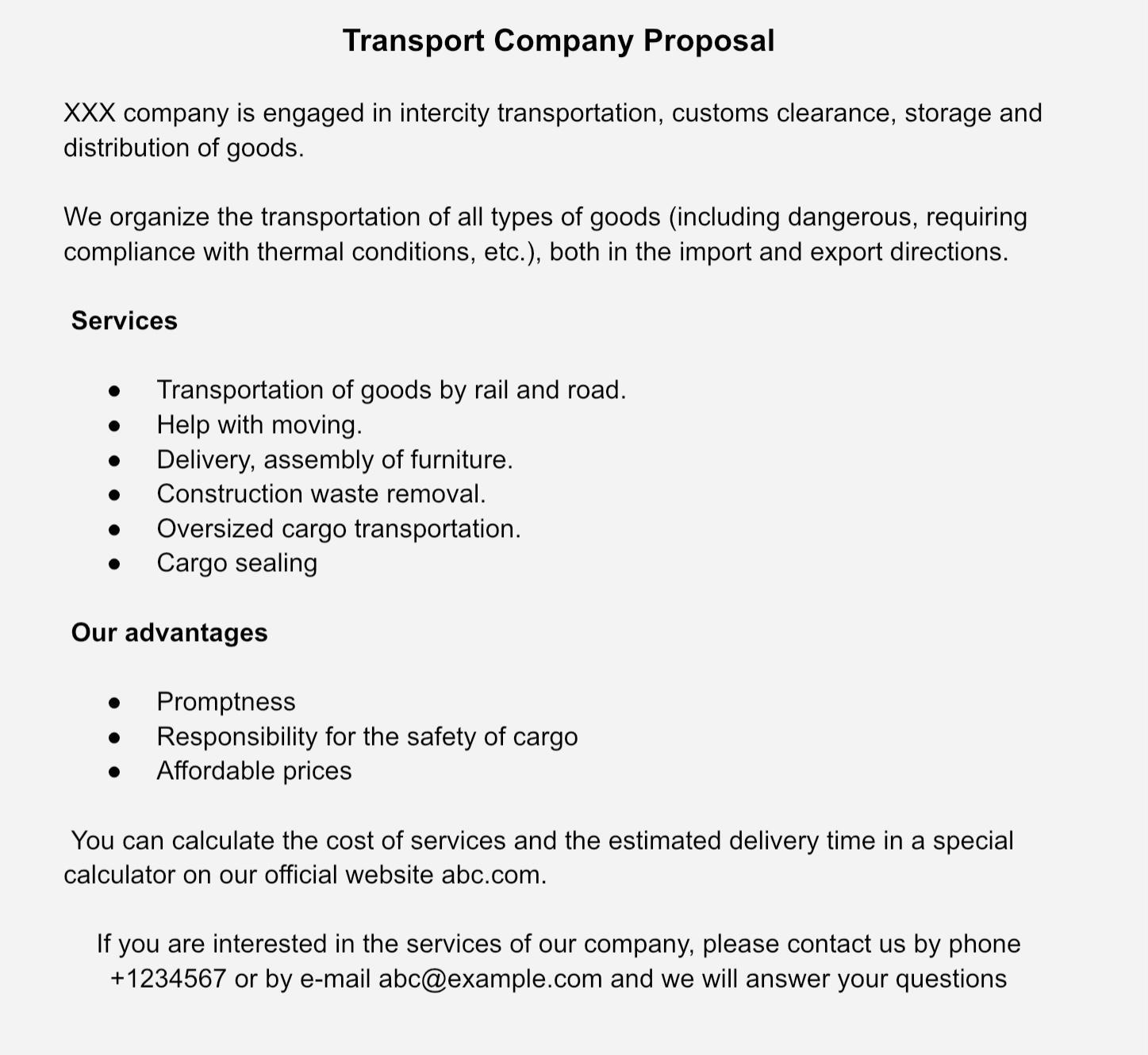 Коммерческое предложение транспортной компании на английском