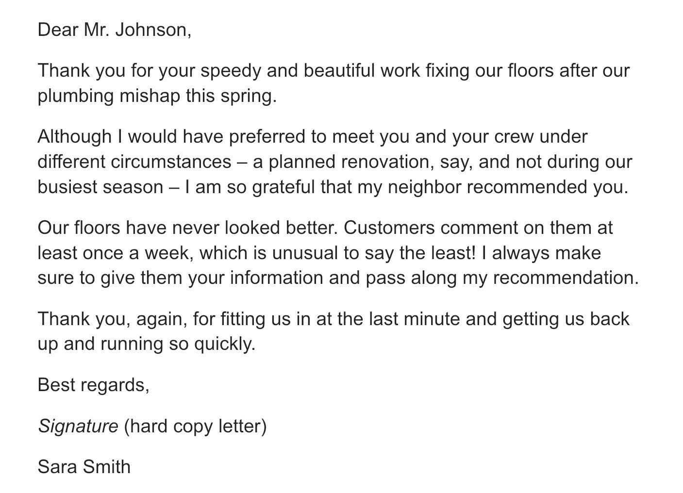 письмо с благодарностью за работу на английском